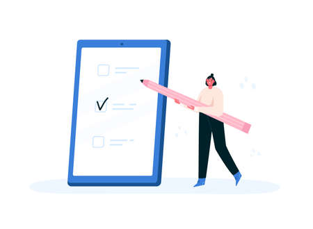 Checklist, to do check list. Woman holding a pencil and marking done tasks on a phone. Concept of successful task completion, planning, productivity, time management. Flat vector illustration.