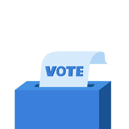 Vote box with checklist. Putting paper in ballot box. Election concept. Flat design vector illustration, can be use for landing page, web, ui, banner, flyer, poster, template. Stock Illustratie