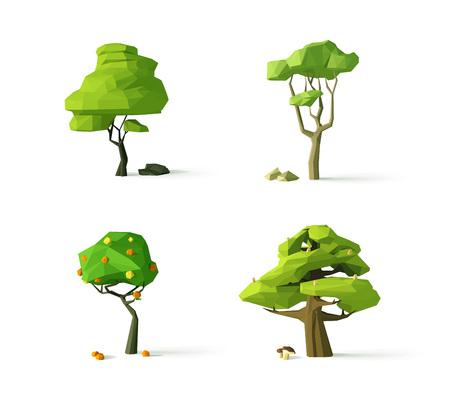 Polygonal trees, modern vector illustration, isolated  イラスト・ベクター素材