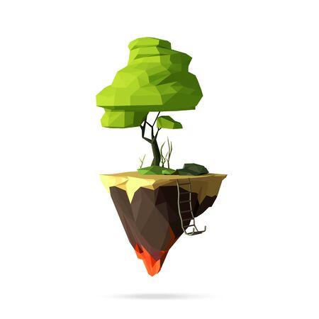Polygonal flying island, stairs, stones, green grass. cartoon illustration, isolated Illustration
