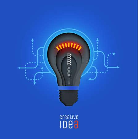 Creative idea, invention, inspiration, innovation, solution. Paper cut lamp. Conceptual illustration. Banner. Card.  イラスト・ベクター素材