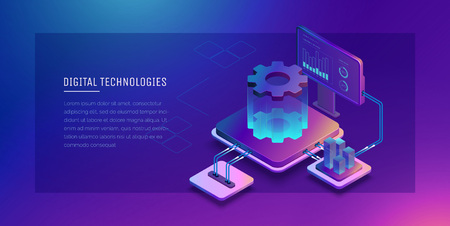 Digital technologies. Monitoring and testing of the digital process. Digital business analysis. Conceptual illustration. Isometric vector illustration.