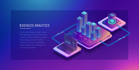 Digital technologies in business. Digital system analysis of business. Business growth graph. Online wallet. Electronic payment systems. Digital money transfers. Conceptual Isometric illustration.