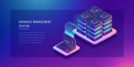 Transfer of user data to the server. Data flow. Data storage. Server. Digital space. Data center. Big Date. Conceptual illustration. Isometric vector illustration. 3D Ilustrace