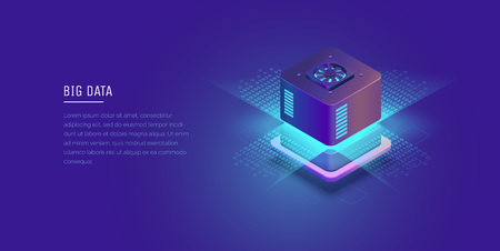 Server. Digital space. Data storage. Data center. Big Date. Conceptual illustration, data flow. Isometric vector illustration. 3D.