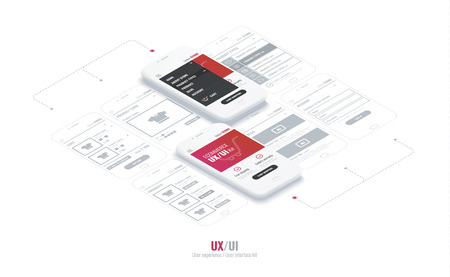 Website wireframe for mobile apps with link . A conceptual mobile phones with a mobile app page. User experience, user interface kit in e-commerce. Ilustrace