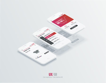 A conceptual mobile phones with a mobile app pagese and website wireframe. User experience, user interface in e-commerce. Website wireframe for mobile apps.