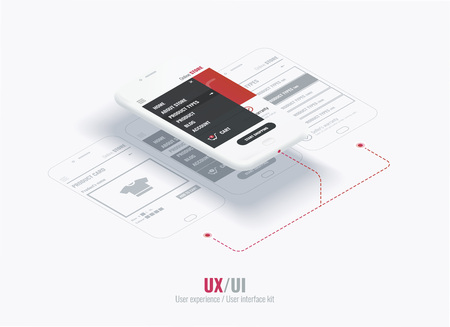 Website wireframe for mobile apps with links . A conceptual mobile phones with a mobile app page. User experience, user interface in e-commerce.