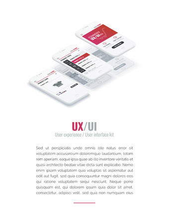 A conceptual mobile phones with a mobile app pagese and website wireframe. User experience, user interface in e-commerce. Website wireframe for mobile apps. Banner for web and printing Ilustrace