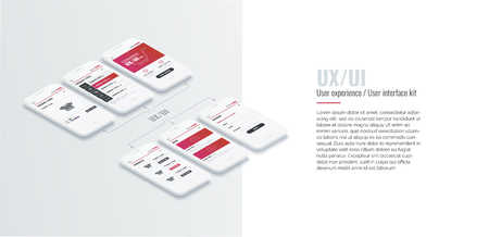 A conceptual mobile phones with a mobile app pagese. User experience, user interface in e-commerce. Website wireframe for mobile apps. Banner for web and printing