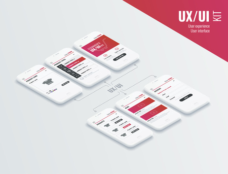 A conceptual mobile phones with a mobile app pagese. User experience, user interface in e-commerce. Website wireframe for mobile apps