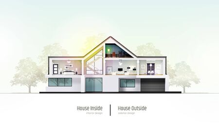 House in cross-section. Modern house, villa, cottage, townhouse with shadows. Architectural visualization of a three storey cottage. Realistic vector illustration Reklamní fotografie - 134975672