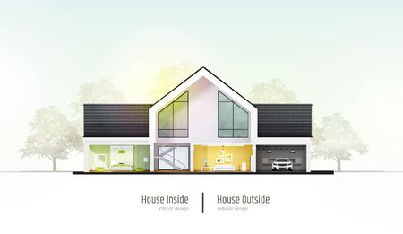 House in cross-section. Modern house, villa, cottage, townhouse with shadows. Architectural visualization of a three storey cottage. Realistic vector illustration