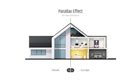 House in cross-section. Parallax Effect for Web Animation. Outside exterior inside interior. Architectural visualization of a three storey cottage. Realistic vector illustration Ilustrace