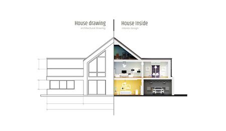 House in cross-section. Drawing inside interior. Modern house, villa, cottage, townhouse with shadows. Architectural visualization of a three storey cottage. Realistic vector illustration