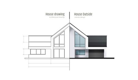 House in cross-section. Drawing inside interior. Modern house, villa, cottage, townhouse with shadows. Architectural visualization of a three storey cottage. Realistic vector illustration.
