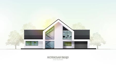 Modern house, villa, cottage, townhouse with shadows, with realistic trees. Architectural visualization. Trendy color three story cottage with white facade, brown roof. Realistic vector illustration