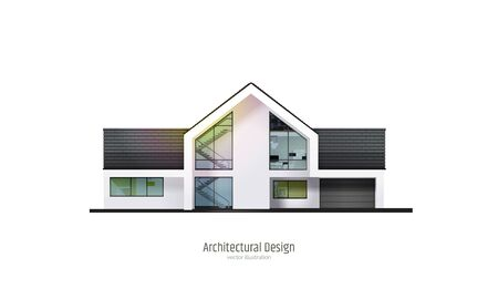 Modern house, villa, cottage, with shadows, isolated on white background. Architectural visualization. Trendy color three story cottage with white facade, brown roof. Realistic vector illustration