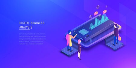 Digital business analysis. Analysis of investments. Business men analyze growth charts. Performance indicators. Modern vector illustration isometric style.