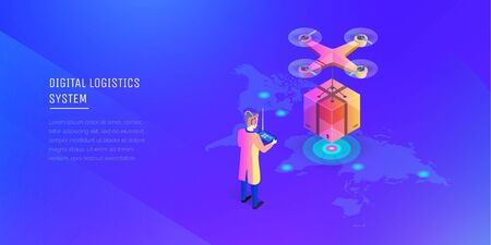 The modern system is logistic. A man with a wireless remote control the cargo copter. Fast shipping. Delivery to anywhere on the map. Modern vector illustration isometric style  イラスト・ベクター素材