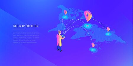 A man with a wireless remote control interacts with locations on the world map. Global communications. World map. Modern vector illustration isometric style on ultraviolet background