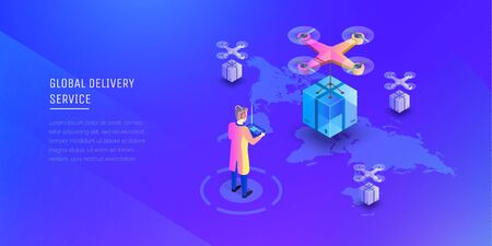 Global delivery service, modern logistic system. A man with a wireless remote control the cargo copter. Fast shipping. Delivery to anywhere on the map. Modern vector illustration isometric style.