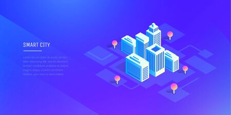 Smart city. Futuristic buildings on an abstract ultraviolet background. Modern vector illustration isometric style.  イラスト・ベクター素材