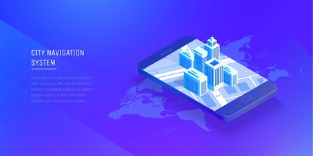 City navigation system. Smart city in a mobile phone. Mobile application for navigation. Modern vector illustration isometric style. Ilustrace