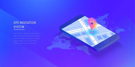 Gps navigation system. Mobile application for navigation. Gps smart tracker. Mobile phone is a mark on the map. Modern vector illustration isometric style.  イラスト・ベクター素材