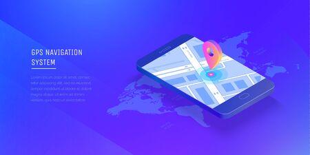 Gps navigation system. Mobile application for navigation. Gps smart tracker. Mobile phone is a mark on the map. Modern vector illustration isometric style. Illustration