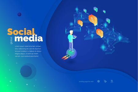 Global social media. A man with a tablet interacts with users of social networks around the world. Modern vector illustration. Abstraction. Ilustrace