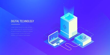 Digital technologies. Testing and analysis of digital system data. Transfer and storage of files. Modern vector illustration isometric style.  イラスト・ベクター素材