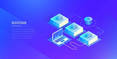 Blockchain technology. Cryptocurrency and blockchain composition. Mining farm. The work and analysis of the blockchain system. The modern vector illustration of the isometric style.