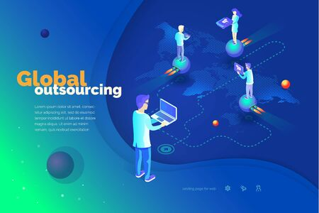 Global outsourcing. A man with a laptop manages outsourcing. World map. Outsource professionals to different locations around the world. Modern isometric style illustration Illustration