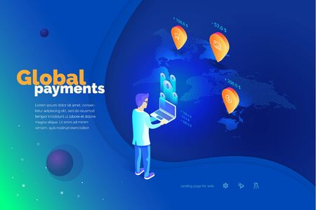 Global payments. A man with a laptop performs financial transactions around the world. World map. Modern vector illustration isometric style.  イラスト・ベクター素材