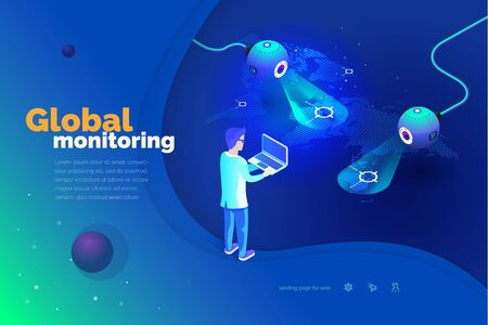 Global monitoring. A man with a laptop interacts with a global tracking system. Data collection. World map. Modern vector illustration of isometric style.