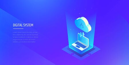 Digital technologies. Exchange of information between the computer and the cloud. A laptop in blue glow downloads files into the cloud storage. Modern vector illustration isometric style.