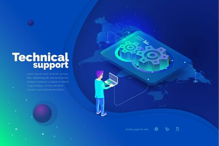 Technical support. A man interacts with a technical support system. Global map of the world. Technical support worldwide. Modern vector illustration isometric style.  イラスト・ベクター素材