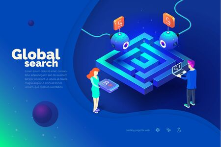 Global search. A man with a laptop interacts with a global tracking system. Data collection. World map. Modern vector illustration of isometric style.  イラスト・ベクター素材