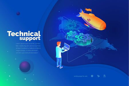 Technical support. A man interacts with a technical support system. Global map of the world. Technical support worldwide. Modern vector illustration isometric style