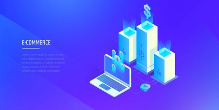 E-commerce. Digital financial system. Work and profit analysis of the electronic financial system. Modern vector illustration isometric style
