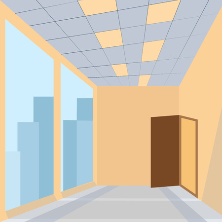 office space: office with door huge glass space story building - vector
