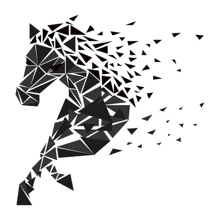 endurance run: Horse particles icon design. Galloping brown horse particles - vector illustration