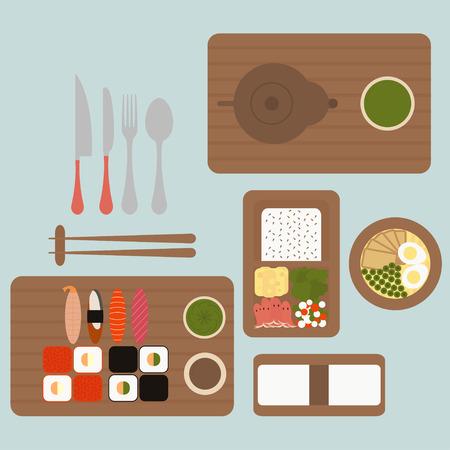 fried shrimp: Japanese restaurant serving dishes Asian food set vector Illustration
