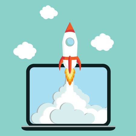 Laptop with Rocket quick Start up concept business project development vector illustration Illustration