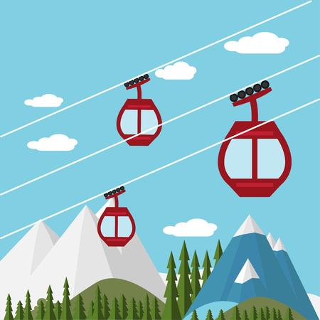 snow mountains: Ski Lift Gondola Snow Mountains, Forest -  Vector Illustration Illustration