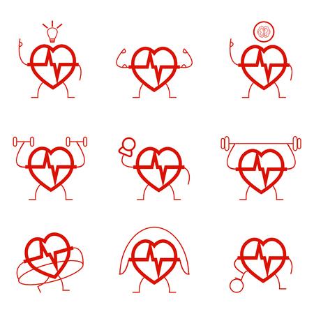 cardio: Heart power set health cardio sports gymnastic exercises - vector
