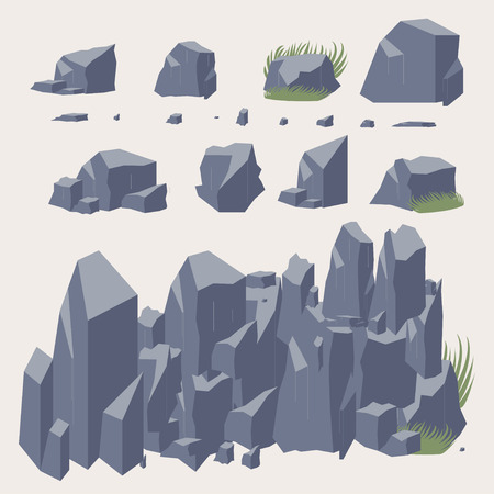 flagstone: Rock stone vector icon.  Set of Rocks and different stone boulders Stock Photo