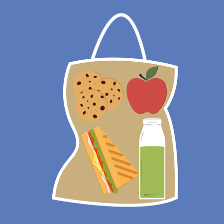 Lunchbox with lunch apple YegYeYos and sandwich package - vector