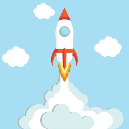 Quick Start up concept the rocket flies upwards - vector illustration Illustration